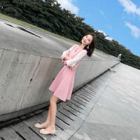 早秋�b女2018新款小香�L心�C裙子�O�感有女人味的粉色���B衣裙 粉色