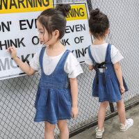 女童连衣裙  儿童背带裙韩版中大童女孩牛仔吊带裙子