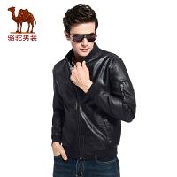 camel 骆驼男装 秋季时尚收口袖时尚黑色PU皮青年夹克衫长袖男外套