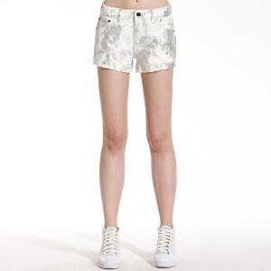 美特斯邦威女装特殊工艺牛仔短裤254706