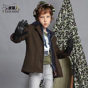 小虎宝儿童装男童羊毛大衣儿童呢子外套中大童中长款男孩冬装新潮