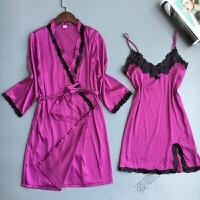 蕾丝吊带睡裙性感睡衣两件套睡袍家居服女韩版春夏薄睡裙