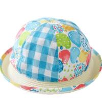 婴儿遮阳帽夏季 男女宝宝防晒帽薄款 儿童凉帽渔夫帽 小苹果印花