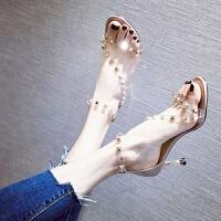 女士凉鞋女学生韩版细跟铆钉高跟鞋百搭网红鞋子夏2019新款ins潮 裸粉色 跟高7厘米