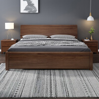 华南家具现代简约全实木床主卧胡桃木1.8米双人床1.5米家用单人床
