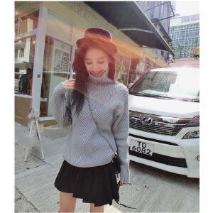 卡茗语秋冬新款女装韩版加厚高领毛衣女宽松套头兔绒针织衫粗毛线打底衫