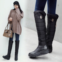№【2019新款】冬天穿的防水防雪雪地靴女厚底长筒靴摇摇底高筒靴平底过膝羽绒棉靴