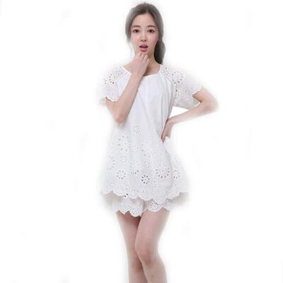 女人睡衣夏季短袖纯棉家居服刺绣蕾丝舒适简约套装