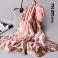杭州丝绸丝巾女秋冬季冬天长款围巾大披肩春秋季保暖纱巾