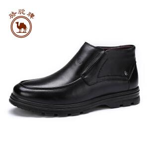 骆驼牌男靴 冬季新款套脚舒适休闲鞋男士简约耐磨保暖靴子