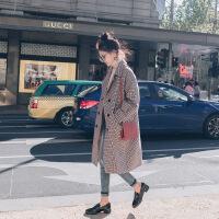 2018流行赫本大衣秋冬季新款宽松中长款加厚毛呢格子毛呢外套女装 彩色千鸟格 XS