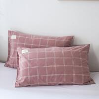 枕套水洗棉夏季单人日式简约家用纯色吸汗透气枕套一对装 纯棉