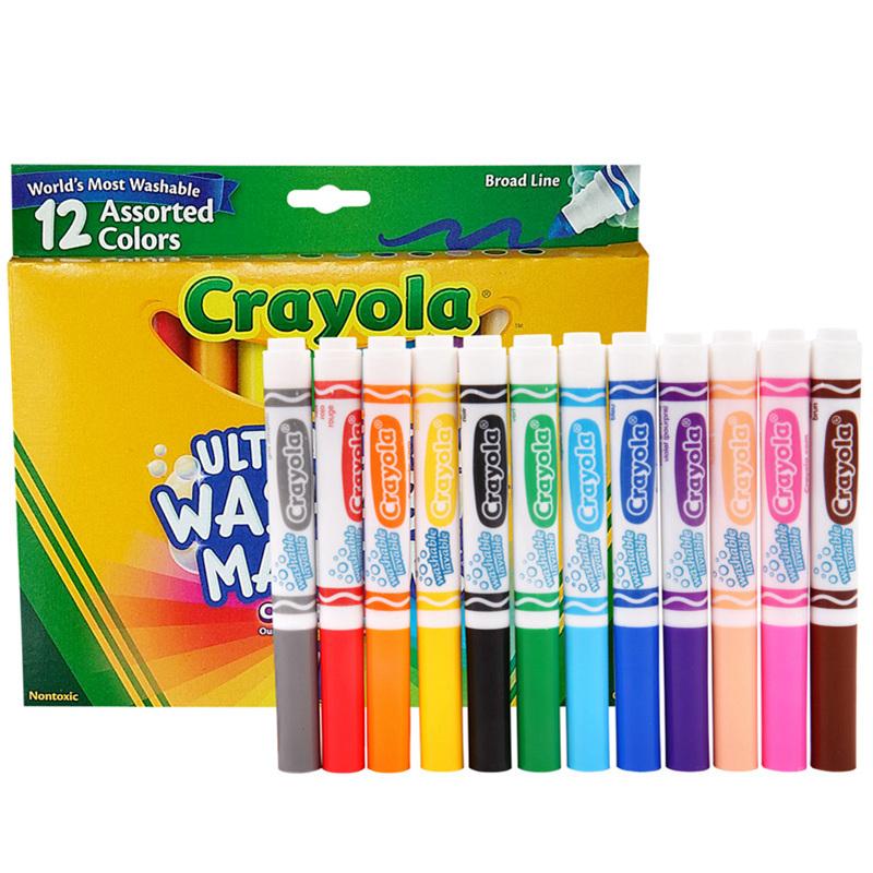 Crayola 绘儿乐 12色可水洗粗头马克笔 58-7812【当当自营】美国儿童绘画品牌