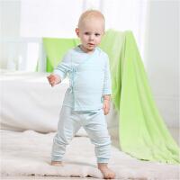 【加拿大童装】; Gagou Tagou新生宝宝婴幼儿纯棉绑带长袖和尚服两用裆裤子套装