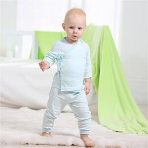 【夏季清仓 低至19元起】Gagou Tagou新生宝宝婴幼儿纯棉绑带长袖和尚服两用裆裤子套装