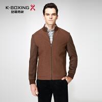 劲霸毛呢夹克 青年男士商务休闲外套 2016冬季新款羊毛立领夹克衫