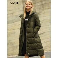 【到手价:544元】Amii极简时尚欧货90白鸭绒羽绒服女冬2019新字母连帽加厚长款外套
