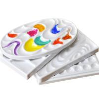 调色波浪形皮纹仿陶瓷颜料盘长方形水彩调色盘易清洗调色盘