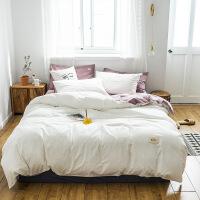 全棉加厚水洗棉床单四件套北欧风宿舍纯棉床上床单被套床笠三件套 白色