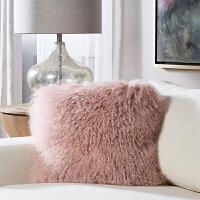 滩羊毛抱枕套皮草靠垫沙发床头靠枕套羊毛靠垫套不含芯 40X40cm