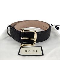 Gucci黑色双G压花针扣腰带 281548