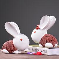 御目 摆件 创意小兔子动物摆件欧式家居客厅卧室电视酒柜装饰工艺品房间摆设摆饰