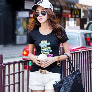 夏季短袖T恤女韩版修身半袖T��上衣学生百搭打底衫白色体恤棉小衫ZY3835