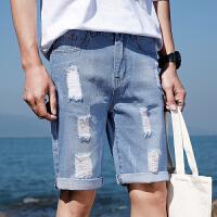 夏款牛仔短裤男士韩版潮五分裤港风衣服宽松休闲百搭男装5分裤
