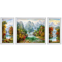 美式油画手绘瀑布聚宝盆小鹿风景客厅三联组合有框装饰画中式欧式 手绘1米*120左右60*1米 组合