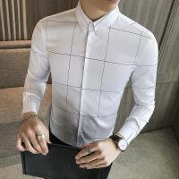 №【2019新款】格子衬衫男长袖修身韩版黑色青年寸衫紧身时尚个性免烫新款衬衣潮