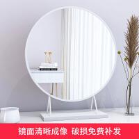 【爆款】台式桌面化妆镜贴墙壁挂式梳妆台圆形镜子大号卧室北欧金色台镜子