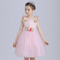 女童蕾丝连衣裙公主裙儿童短袖蓬蓬裙纱裙小女孩裙子