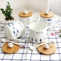 【包邮】文艺清新小鱼陶瓷杯带盖勺可爱简约水杯女学生早餐水杯子