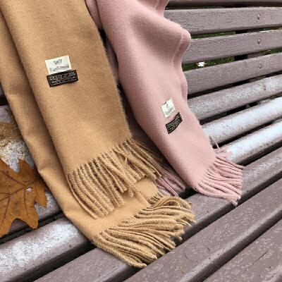 谜秀围巾女2017秋冬装新款韩版纯色毛边围脖百搭两用保暖学生披肩