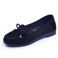 女春季工作鞋黑色平底女老北京女鞋妈妈鞋