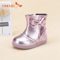 【1件2折后:49元】红蜻蜓童鞋冬款韩版蝴蝶结防水防滑小公主雪地靴儿童靴子