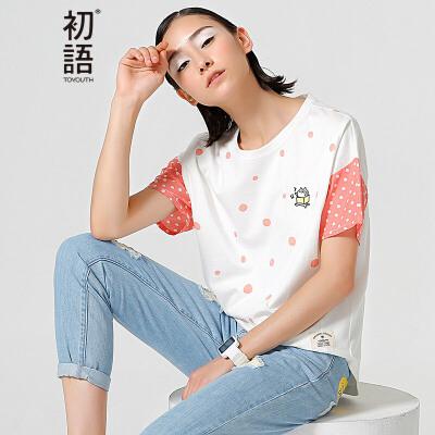 【下单减100 商场同款】初语夏季新款 猫咪刺绣波点印花撞色圆领棉质T恤女8620*1081C