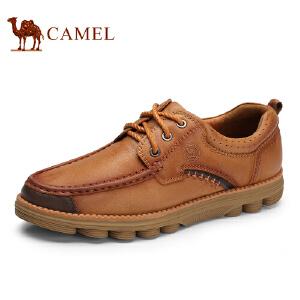 骆驼牌 男鞋 新品手工缝线舒适休闲男鞋头层牛皮低帮鞋
