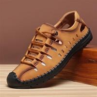 夏季皮凉鞋男户外沙滩鞋透气皮鞋休闲打孔镂空洞洞鞋软底牛皮凉鞋
