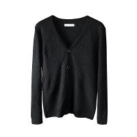 设计师几何纹路针织衫秋冬开衫男士短款外套纯色简约长袖修身青年