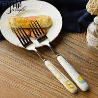 门扉 韩式创意小清新可爱卡通不锈钢水果叉蛋糕叉儿童沙拉小叉子厨房用品家居日用厨具餐具(2支装)