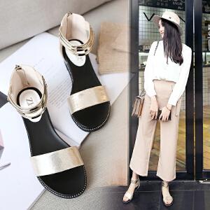 【专柜同款】ZHR2018夏季新款韩版百搭平底凉鞋女一字带学生凉鞋平跟罗马女鞋K17