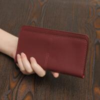 欧美简约长款钱包女新款气质搭扣卡位钱夹