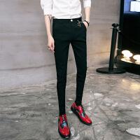 17四季款男士韩版修身纯黑色弹力锥形小脚裤子潮流青年免烫休闲裤