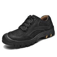 防水耐穿防撞马丁鞋磨砂户外休闲皮鞋低帮大头春季头层牛皮登山鞋