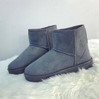 [19.9]雪地靴女经典绒面圆头平跟舒适百搭欧美纯色短筒马丁靴