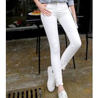新款时尚钉珠小脚裤 韩版修身弹力紧身牛仔裤 白色九分裤女长裤
