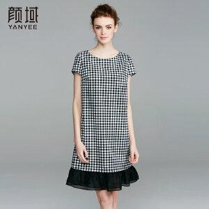 颜域品牌女装2017夏季新款简约圆领格子拼接收腰A型短袖女连衣裙
