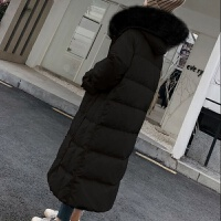 白鸭绒羽绒服女中长款学生韩版外套女冬宽松厚大毛领