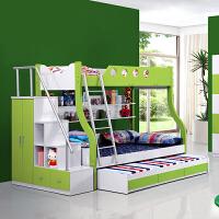 御目 儿童床 地中海实木板材多功能储物床气动高箱床成人床儿童床双层床上下床铺高低床子母床母子床衣柜床 创意家具